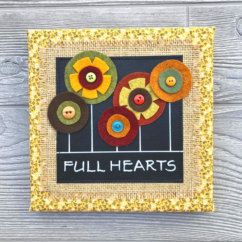 "Full Hearts – Floral Collection  Handmade Artwork – 8""x8"""