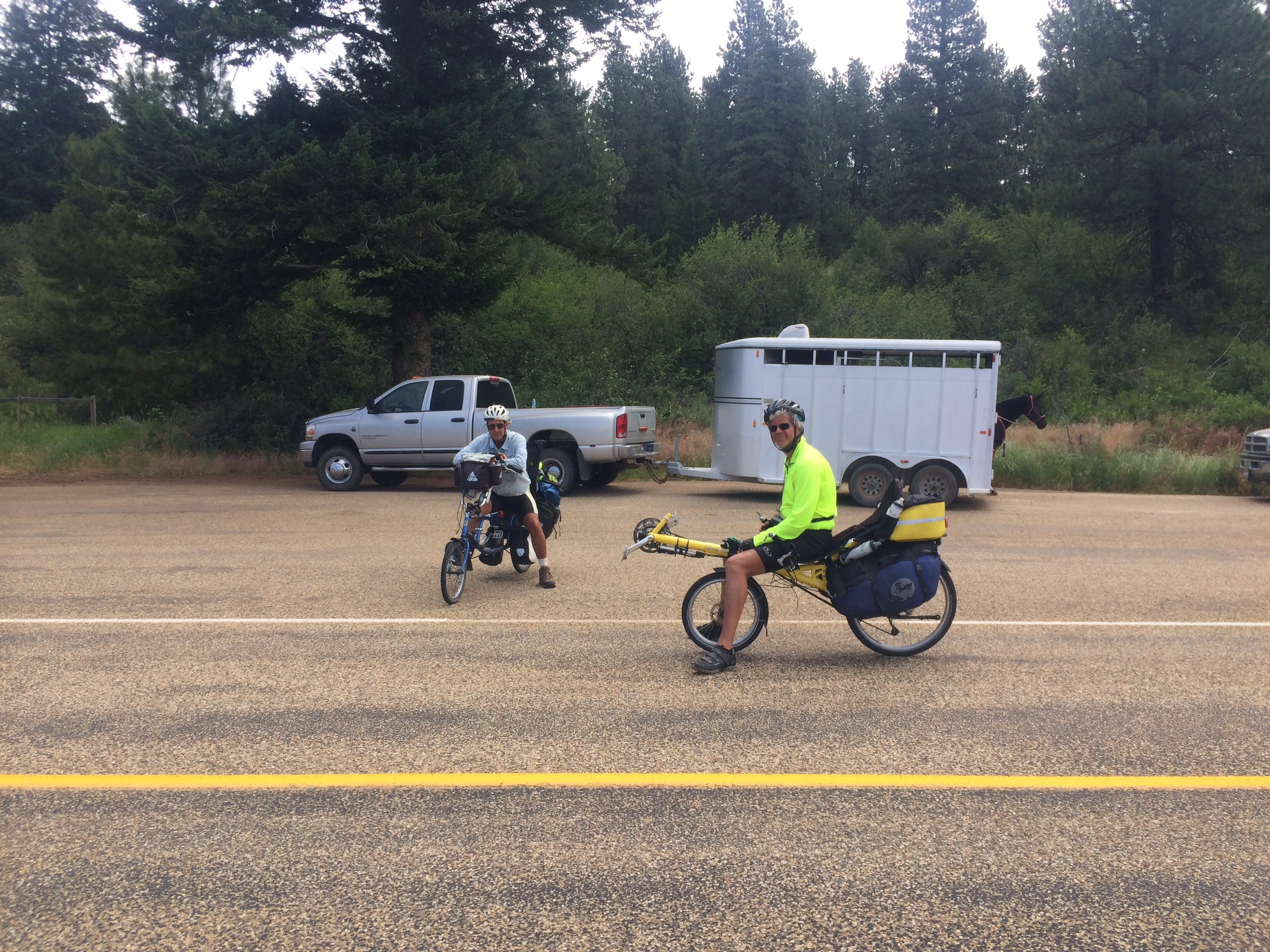 A mid road chat in Idaho.