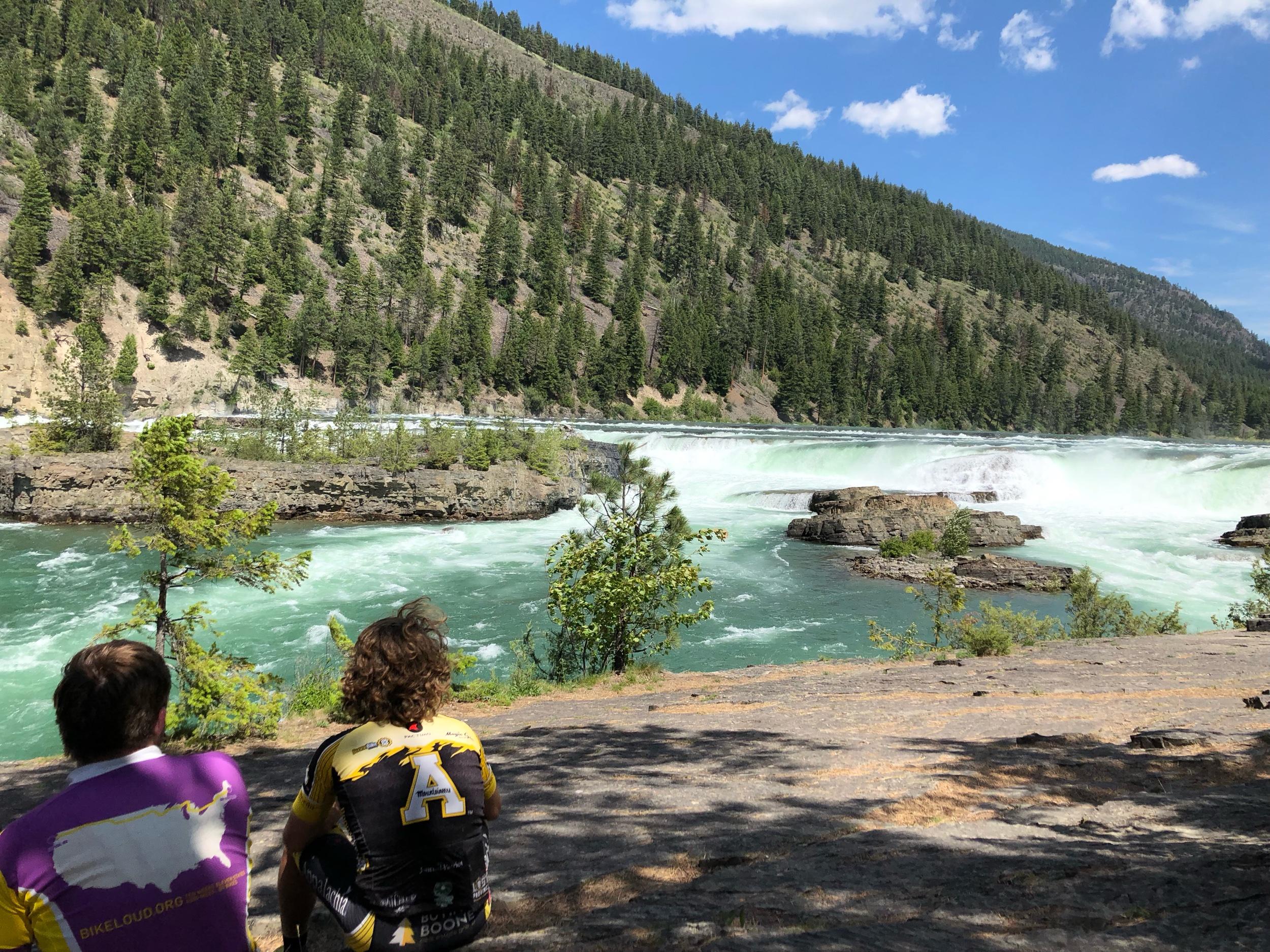 Evan and Wes look out at Kootenai Falls