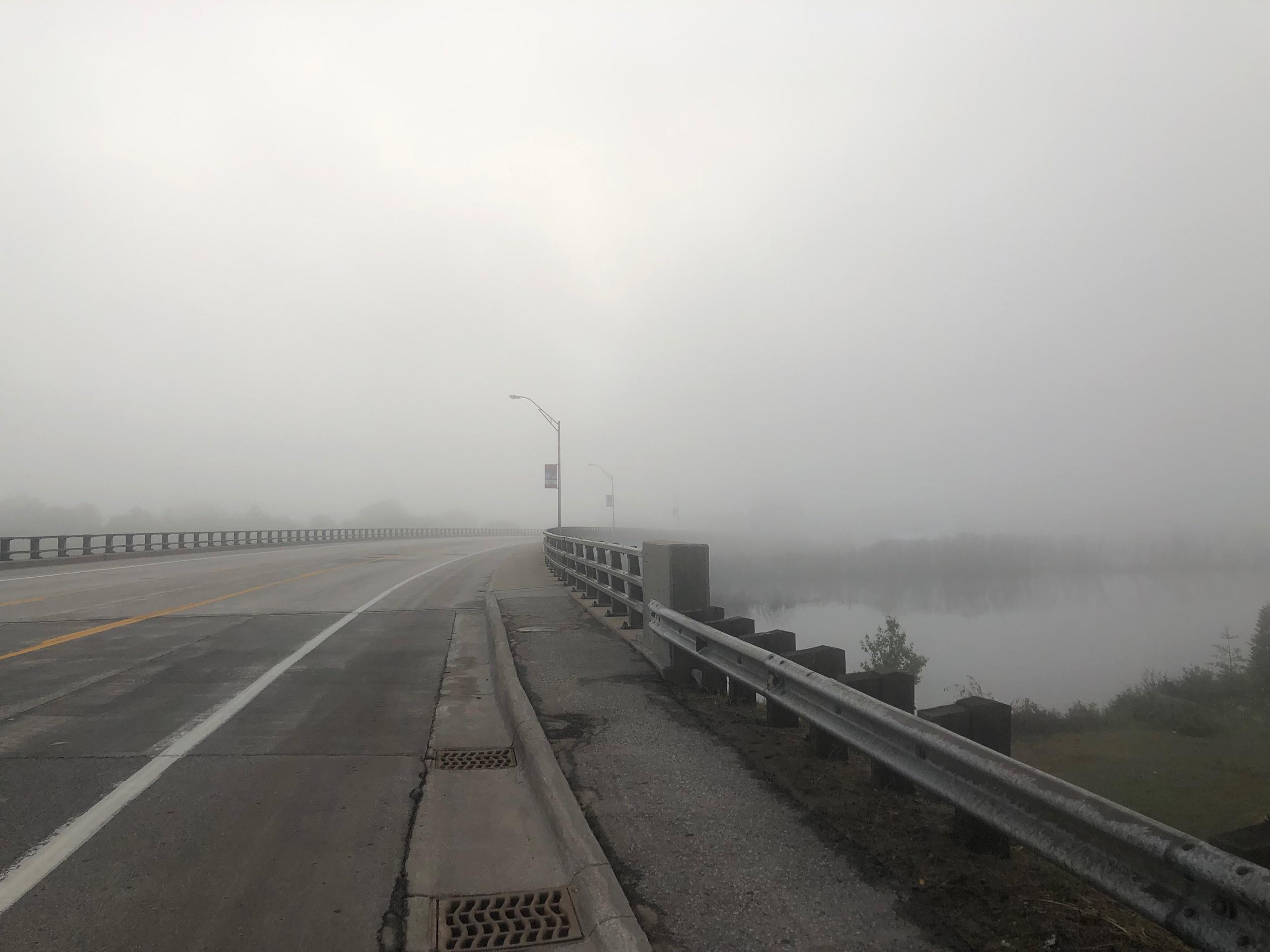 Fog over the Manistique Bridge