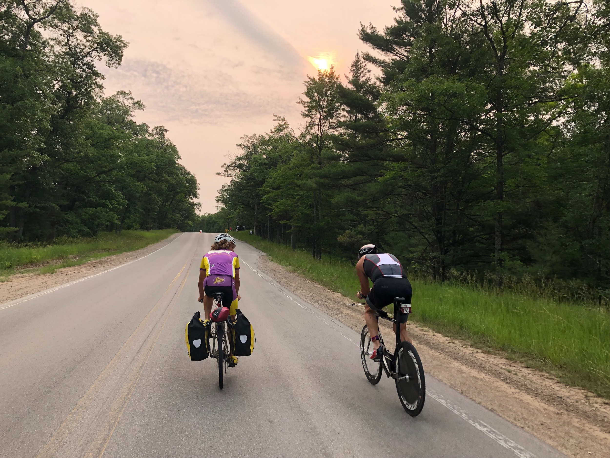 We temporarily joined a bike race outside of Traverse City