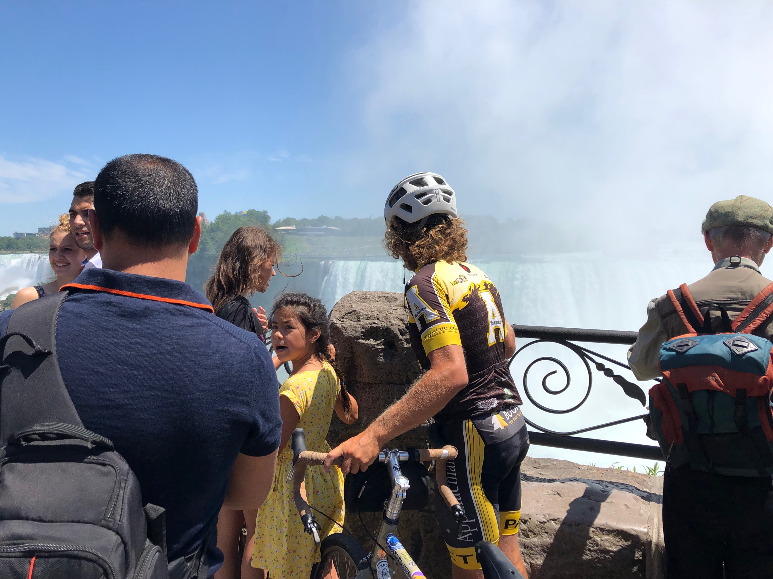 Evan fights his way through the crowd to get a glimpse of Niagara Falls