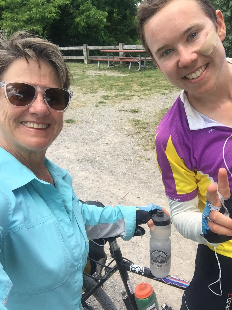 Judy and I on the Canal Trail. Notice her Gannet Peak water bottle and my sticker!