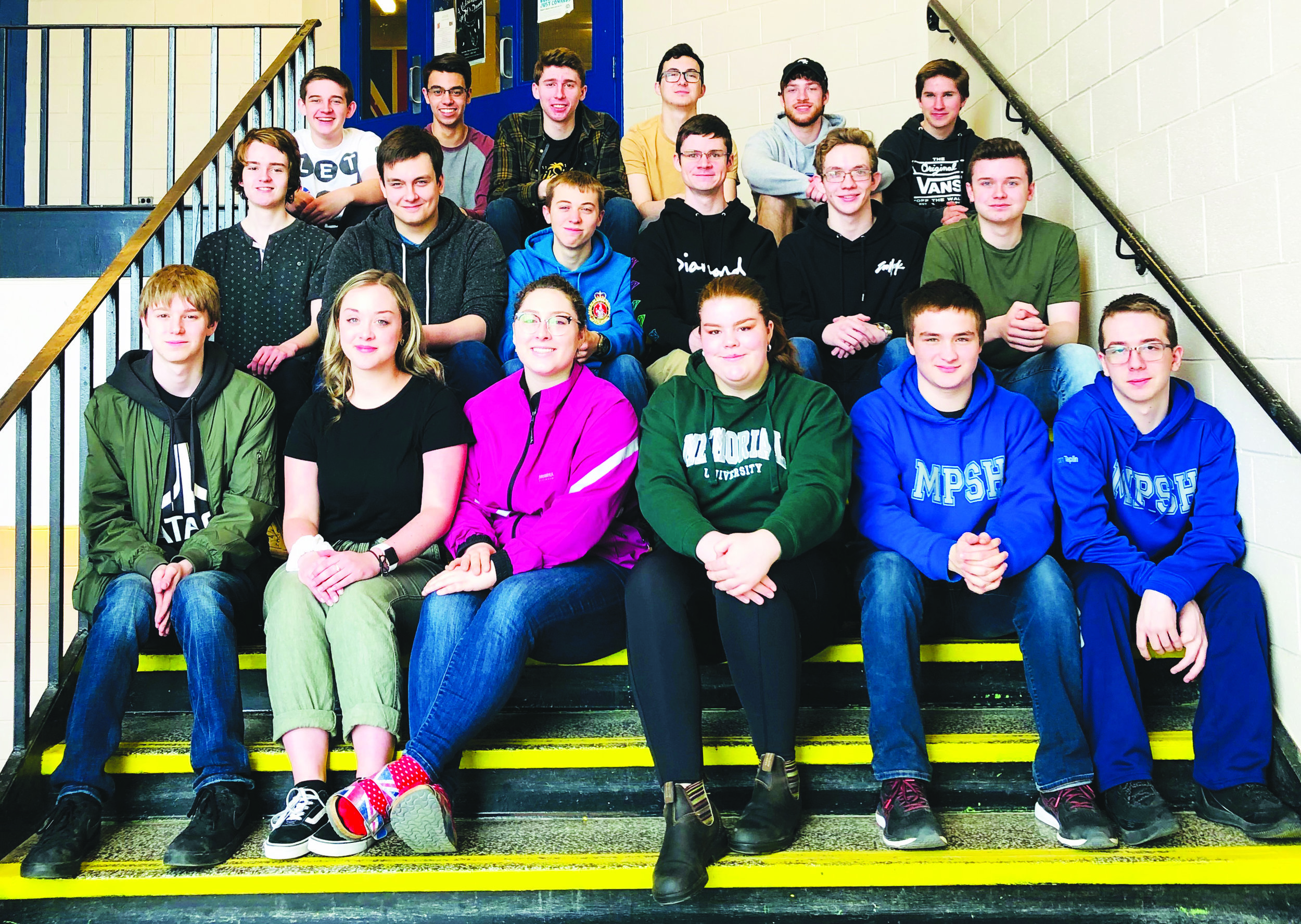Members of the Mount Pearl Senior High robotics club.  In the back row, from left to right, is Ian Carroll, Tim Squires, Josh Deering, Truman Osmond, Jeremy Stratton, and Josh Coady. In the middle row, from left to right, is Timothy Bouzane, Marcus Sinnott, Cameron Kinsella, Steve Lamkin and Shane Williams. In the front row, from left to right is Jacob Purchase, Brianna Hillier, Megan King, Allison Manning, Kalum Dinn, and Noah Taplin.