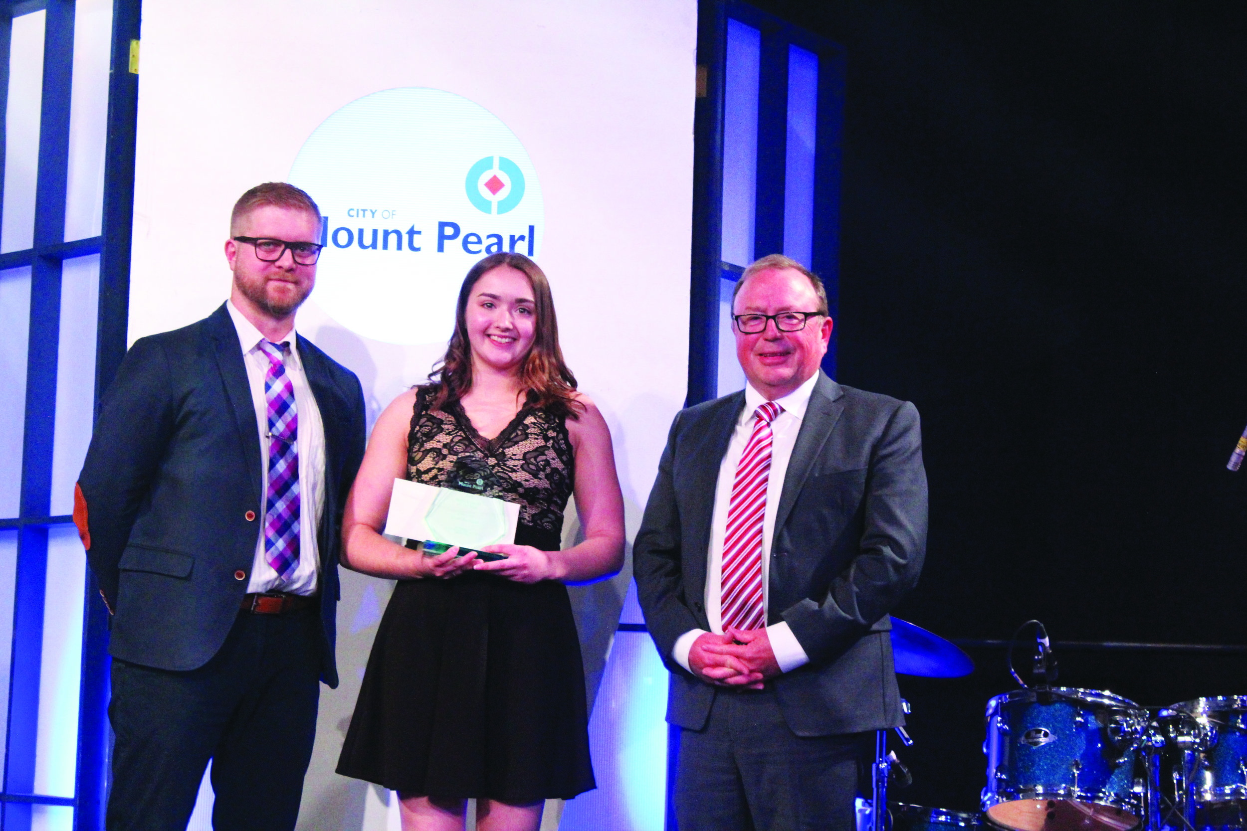 Chris Grimes with the Newfoundland and Labrador Credit Union, Female Youth of the Year Sarah Kennedy (who also took home the STEM award), and Mount Pearl Mayor Dave Aker.  Mark Squib photo