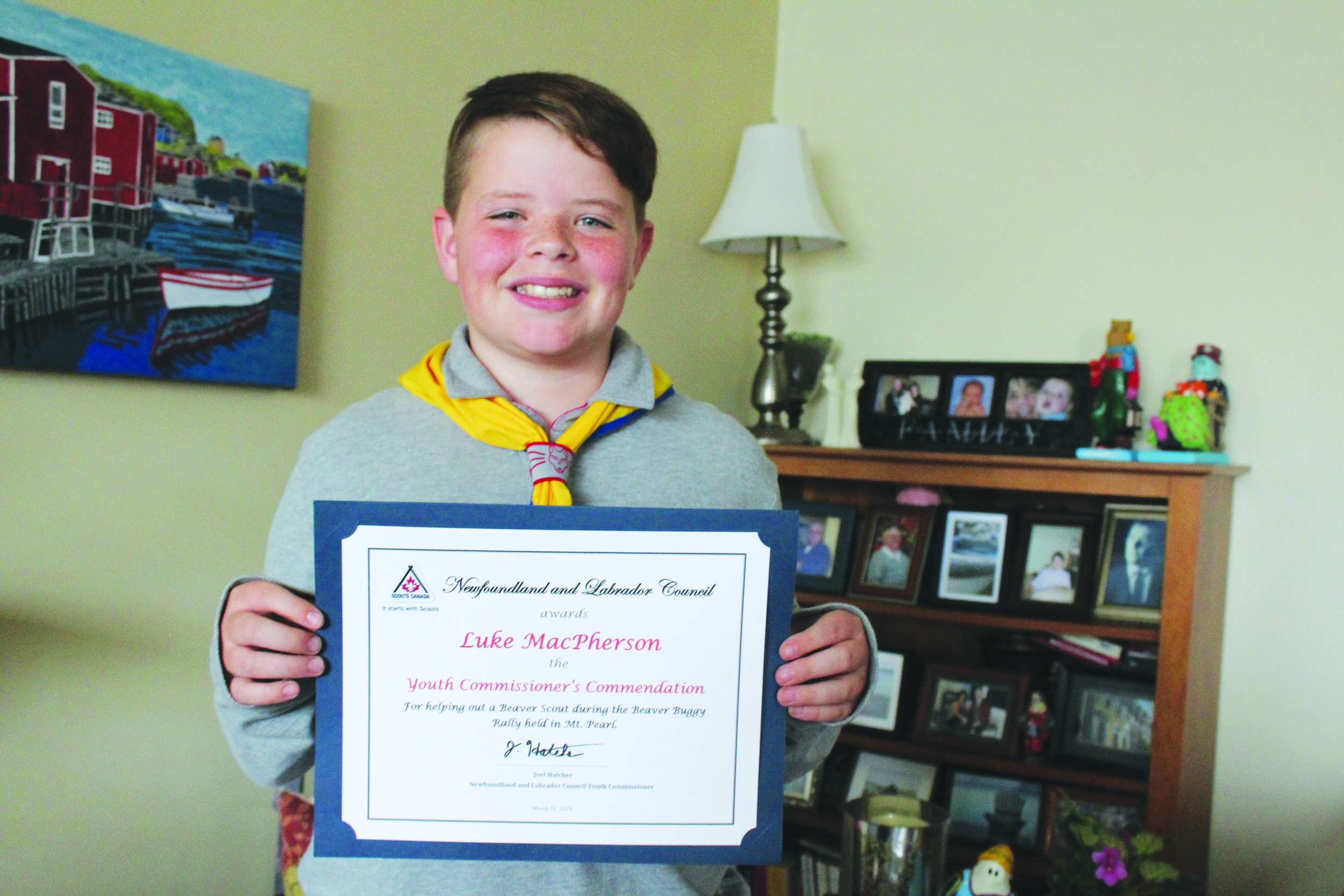 Luke MacPherson was recognized for a kind deed he did for another Scouts member.  Mark Squibb photo