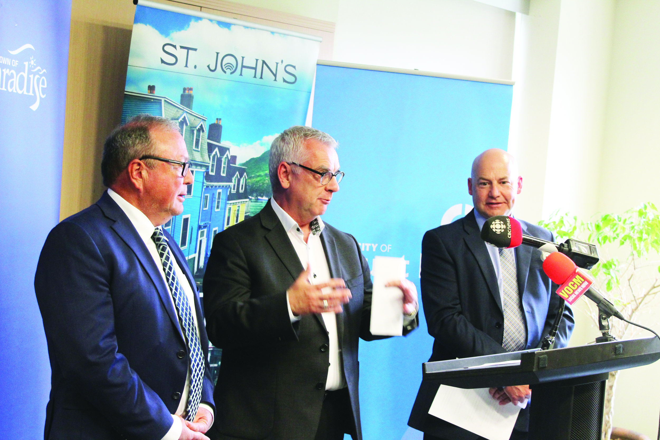 The mayors of Mount Pearl, Paradise, and St. John's say it's not possible to meet federal standards for wastewater treatment within the timeframe allowed. From left to right are Mount Pearl Mayor Dave Aker, St. John's Mayor Danny Breen, and Paradise Mayor Dan Bobbett. Mark Squibb photo