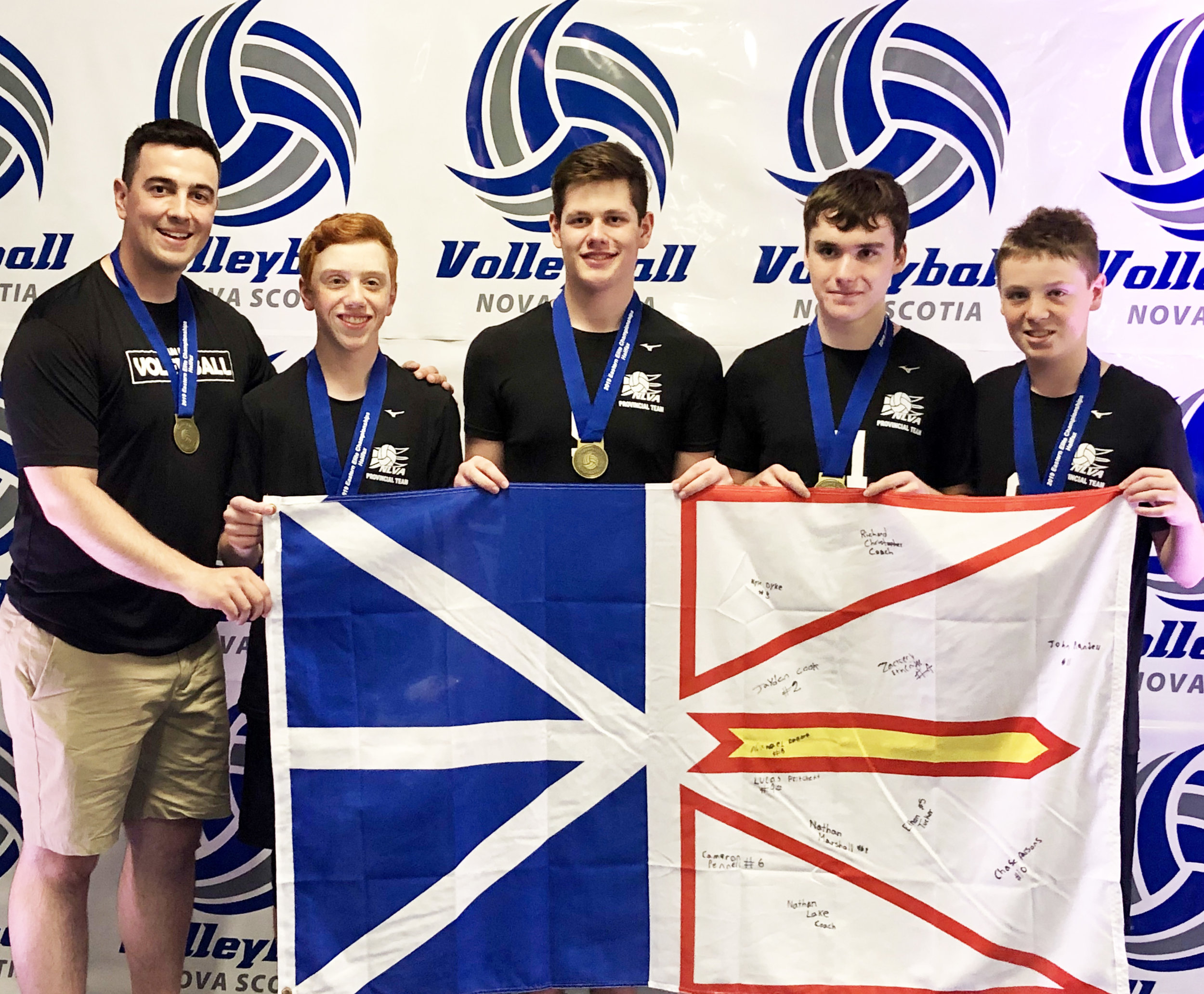 Members of the Eastern Elite Championship team. From left to right are head coach Richard Christopher, Nathan Marshall, Ethan Tucker, John Randell, and Cameron Pennell.  Submitted photo.