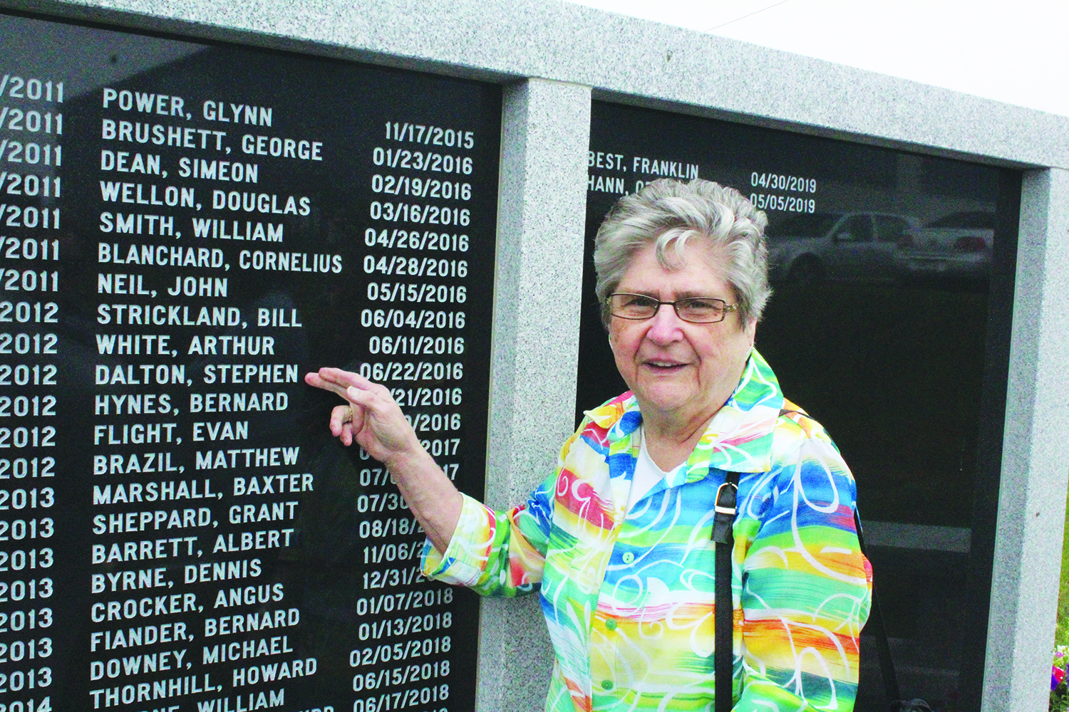 Violet Dalton was one of about a hundred people who attended the Local 740 memorial dedication on Aug. 9. Her late husband, Stephen Dalton, is memorialized on the wall.