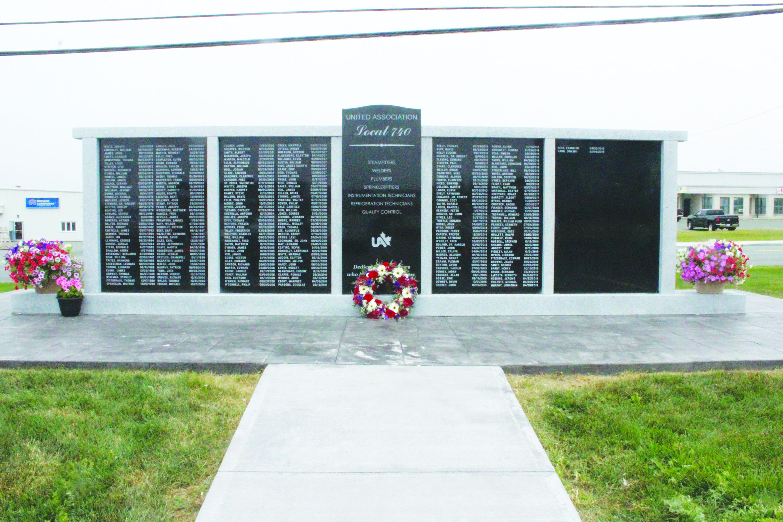 261 names adorn the Plumbers' memorial wall, with more names to be updated annually.