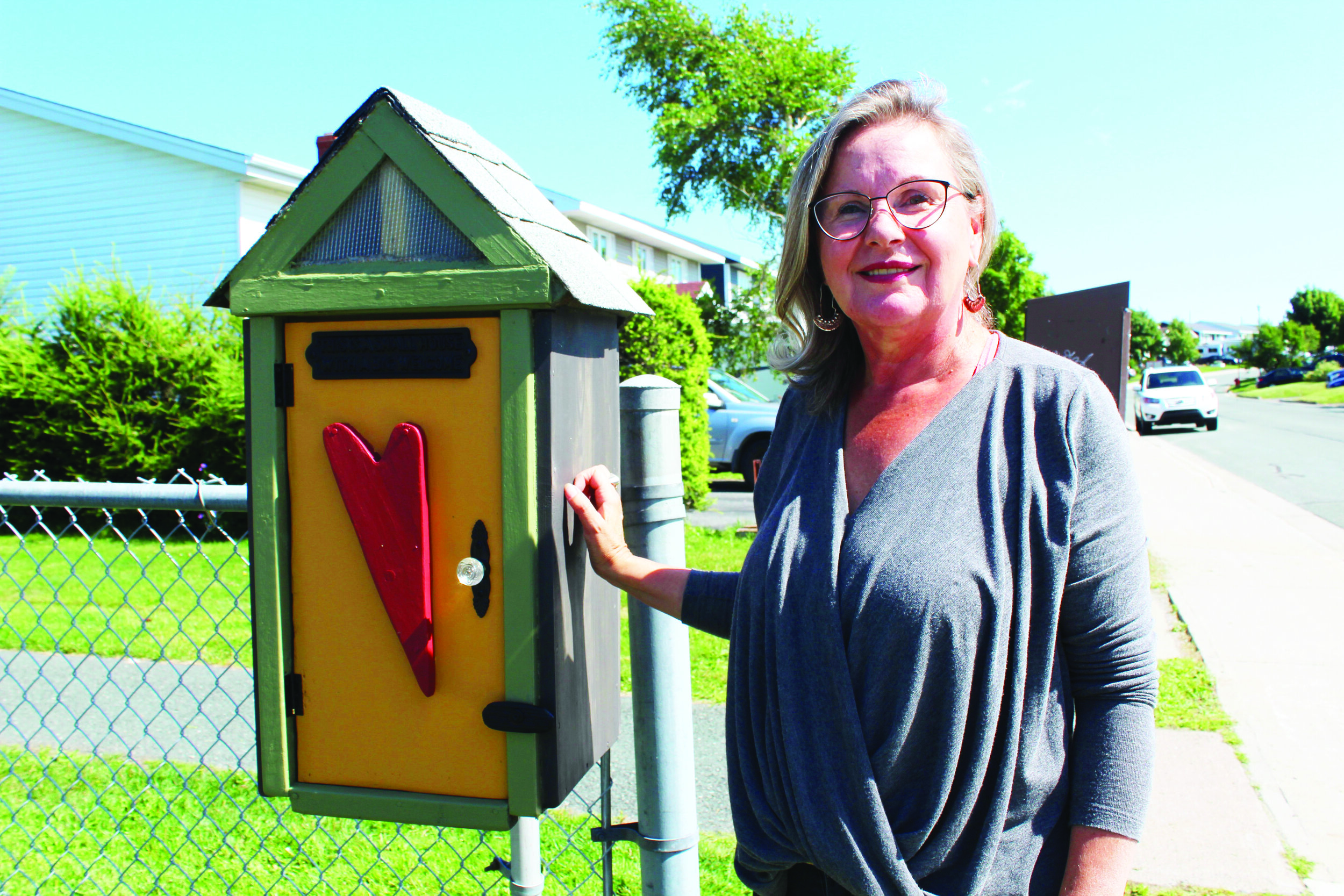 Maureen Duke Renouf has had a 'little library' sitting at the foot of her driveway for about five years. It serves as a repository for people to pick up second-hand books, and leave one behind that they have already read. Chris Lewis photo