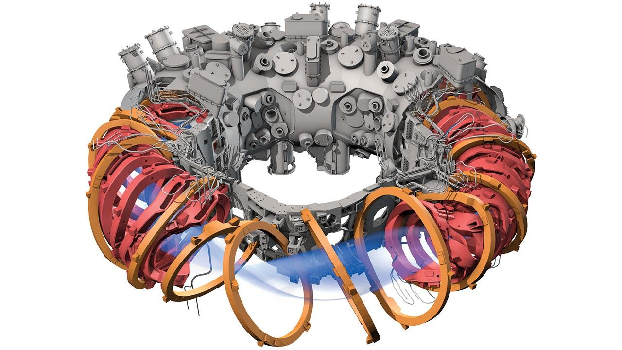 Wendelstein 7X computer model with electro magnets and plasma exposed