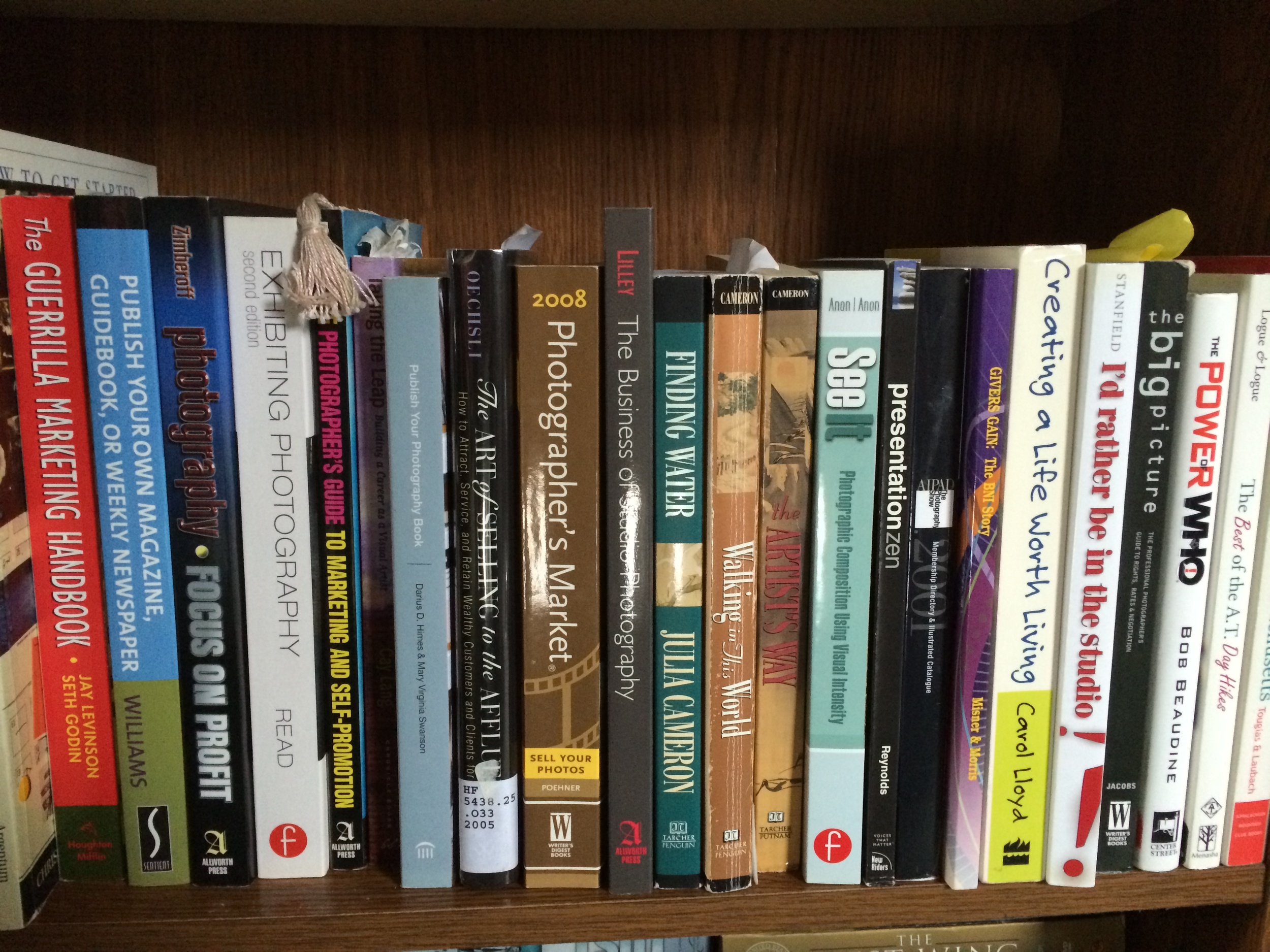 One of the bookshelves with Photo, Art, and Marketing Books