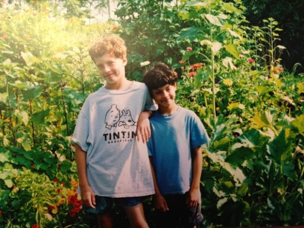 Lifelong field-testers, Austin and Jason, in the garden at Cedarberry Farm where it all started about 16 years ago.