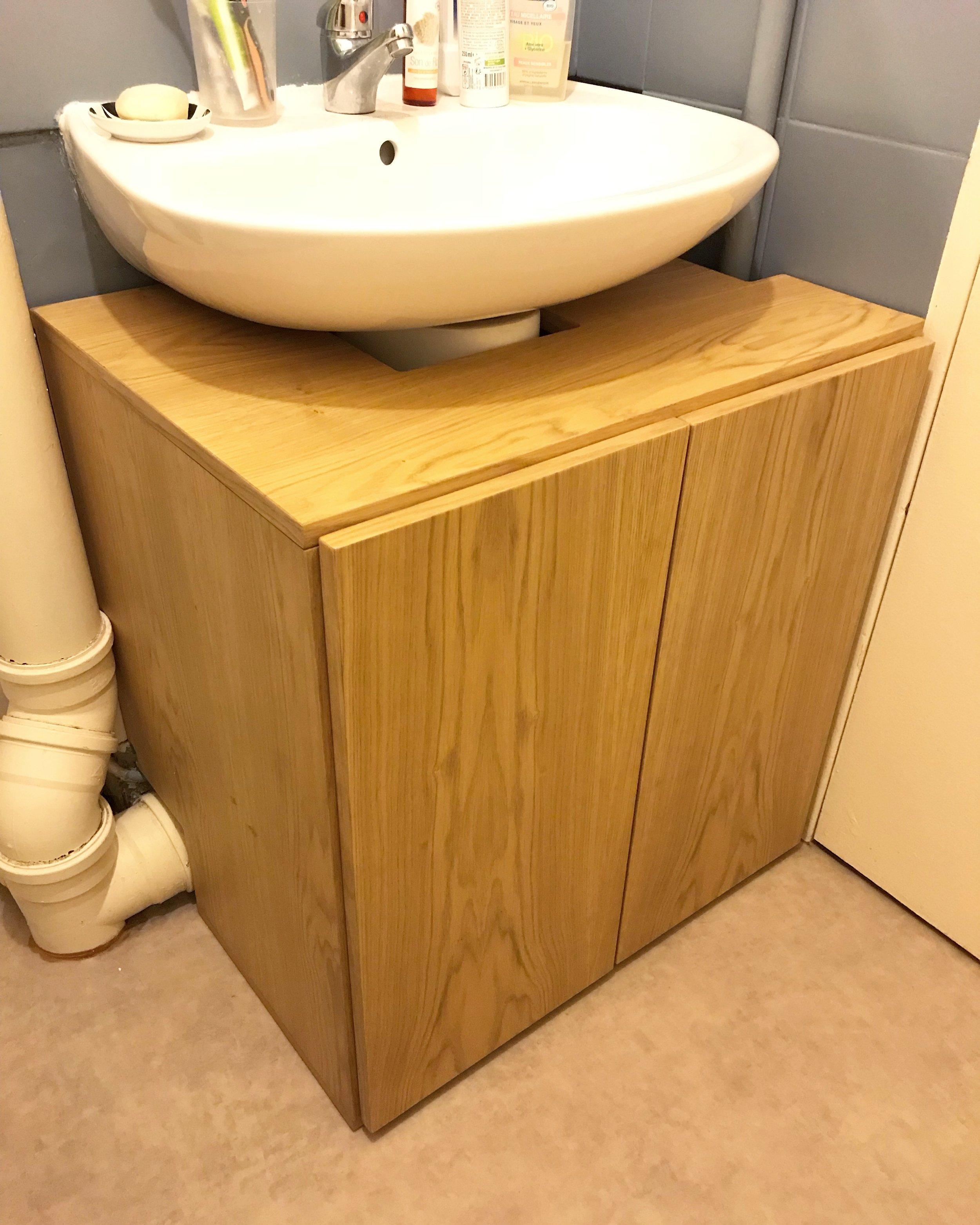 Meuble salle de bain sur-mesure / MDF Plaqué chêne