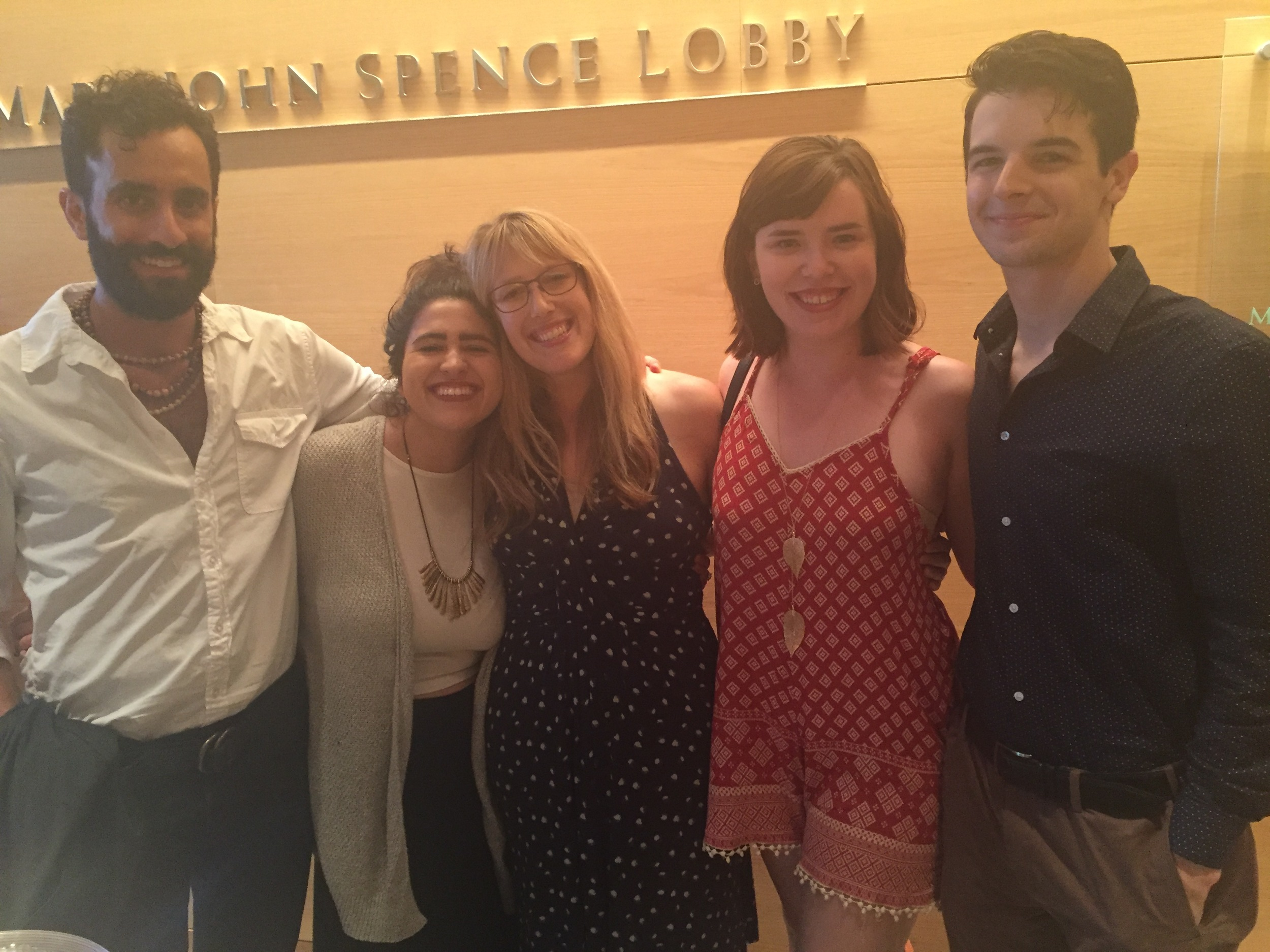 Joanna with the cast of the UTNT production of The Orange Garden at the Keene Prize awards ceremony. From l to r: Adam Foldes, Kat Lozano, Natalie Patton, Luke Stodghill.