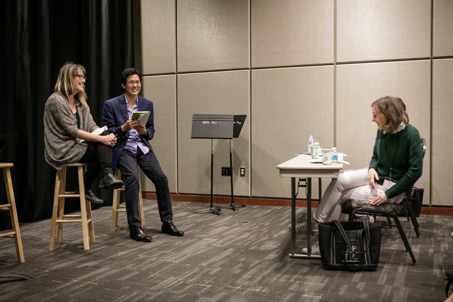 Feedback session with my dramaturg, Walter Chon, and responders Kip Fagan and Eliza Bent.