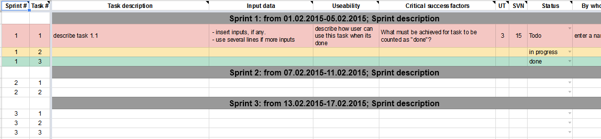 Sample Google spreadsheet to guide you through meetings task by task.