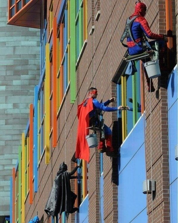 While these window cleaners are a pleasant surprise in a children hospital, your client CEO might not like surprises too much!