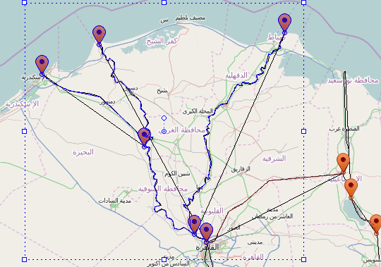 AnyLogic created features from a shapefile for the Nile river delta in 2 clicks :-)