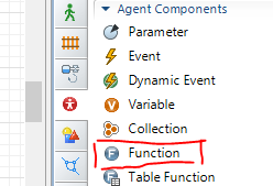 You can drag in a Function, essentially letting AnyLogic write code for you.