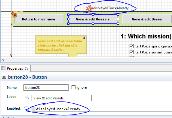 Enable or disable buttons using a boolean variable