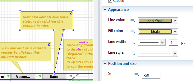 Polyline used for a pop-up message