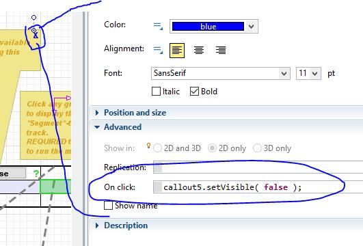 Close a pop-up using an interactive text object