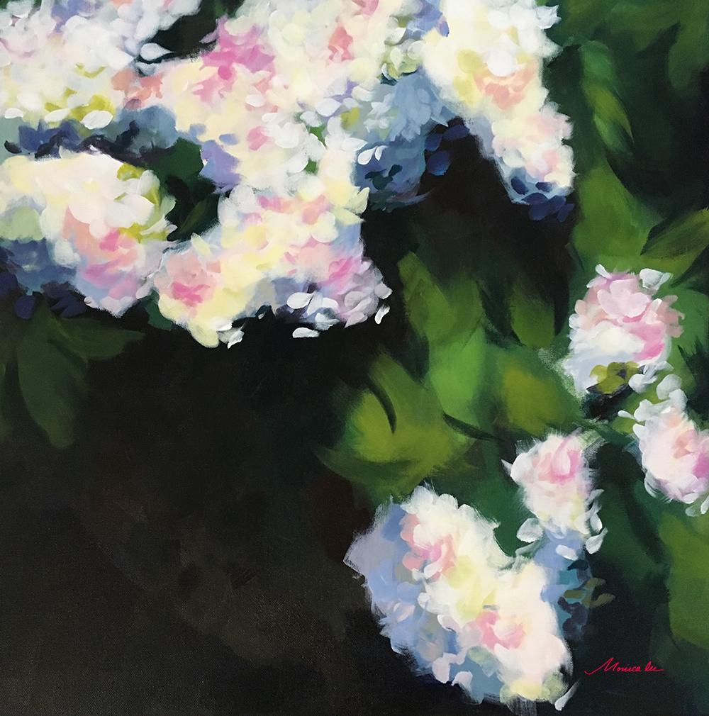 White Blossoms 24 x 24