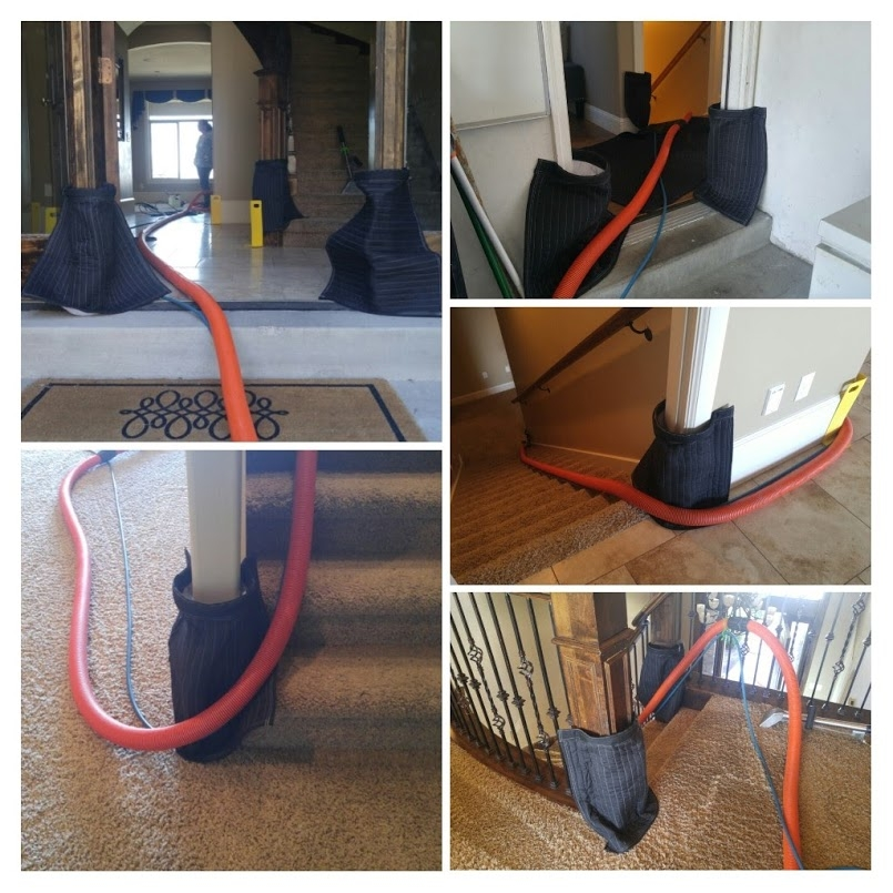 HERE WE ARE USING hUGGERS AND CORNERS GUARDS TO PROTECT THE HOME WHEN WE ARE CARPET CLEANING