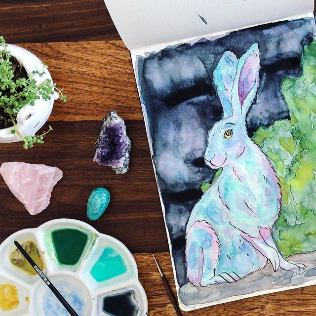 New YouTube video on my channel 🌈🦄🐰So, I've been stalking the Kuretake Gansai Tambi paints for ages, well, mostly the pale ultramarine and malachite colour, but I'm a completionist so I bought the 36 set🙈🤣 I had so much fun painting this hare! #hare #watercolor #watercolour #painting #cute kuretake #moleskine #sketchbook #illustration #southafricanillustrator #youtube.  https://youtu.be/0sbjqg7Zks0