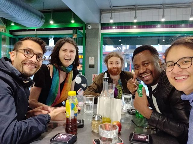 A quick groupie while waiting for Pizza after long rehearsal session. Next gig: Transglobal Melodies.18th May, 8pm at Club Makossa. Tickets on sales @babababalonia #ME #international #finnish #igbo #worldmusic #flotsam.