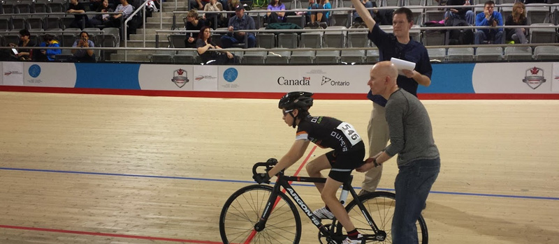 Finlay ready to launch at the Milton Velodrome.