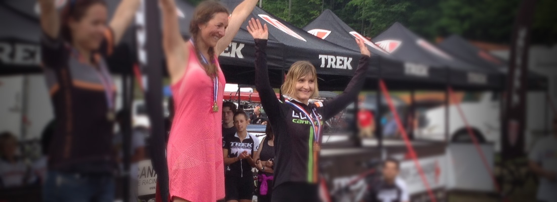 Robyn Duke celebrates her 3rd Place finish at the Summer Epic 8.