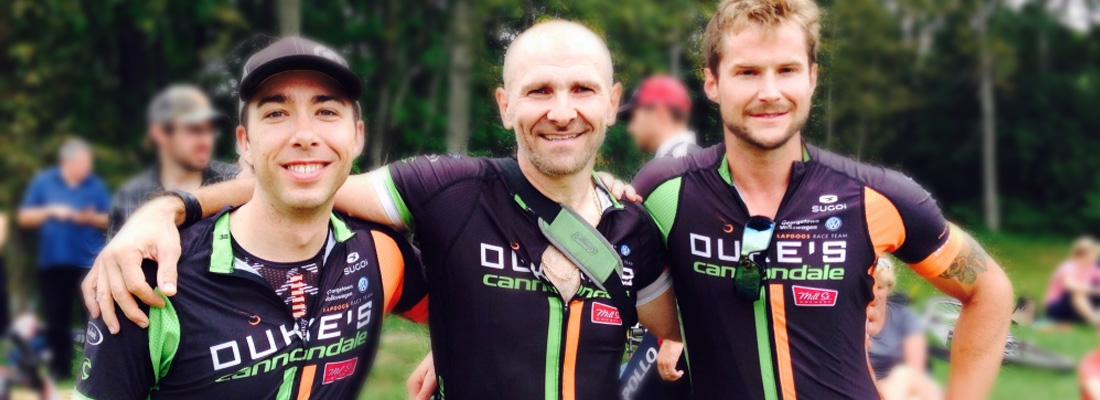 Dan, our MTB Team Director, relaxing after the Provincials with Oggie and Mark.