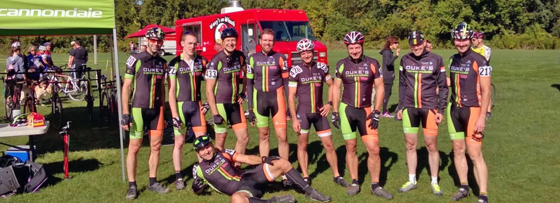 The Duke's Cycle Cannondale Cross Squad, enjoying the warm fall weather at the Dirt Squirrel.