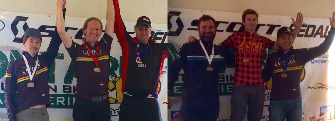 Brian, Bevin and Larry, take home some bling after a tough day on the trails.
