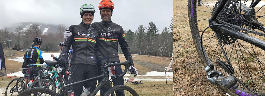Robin and Jouko, proudly flying the colours south of the boarder in Vermont. A most successful day, despite Robin loosing a rear derailleur with 2k of go in the race.