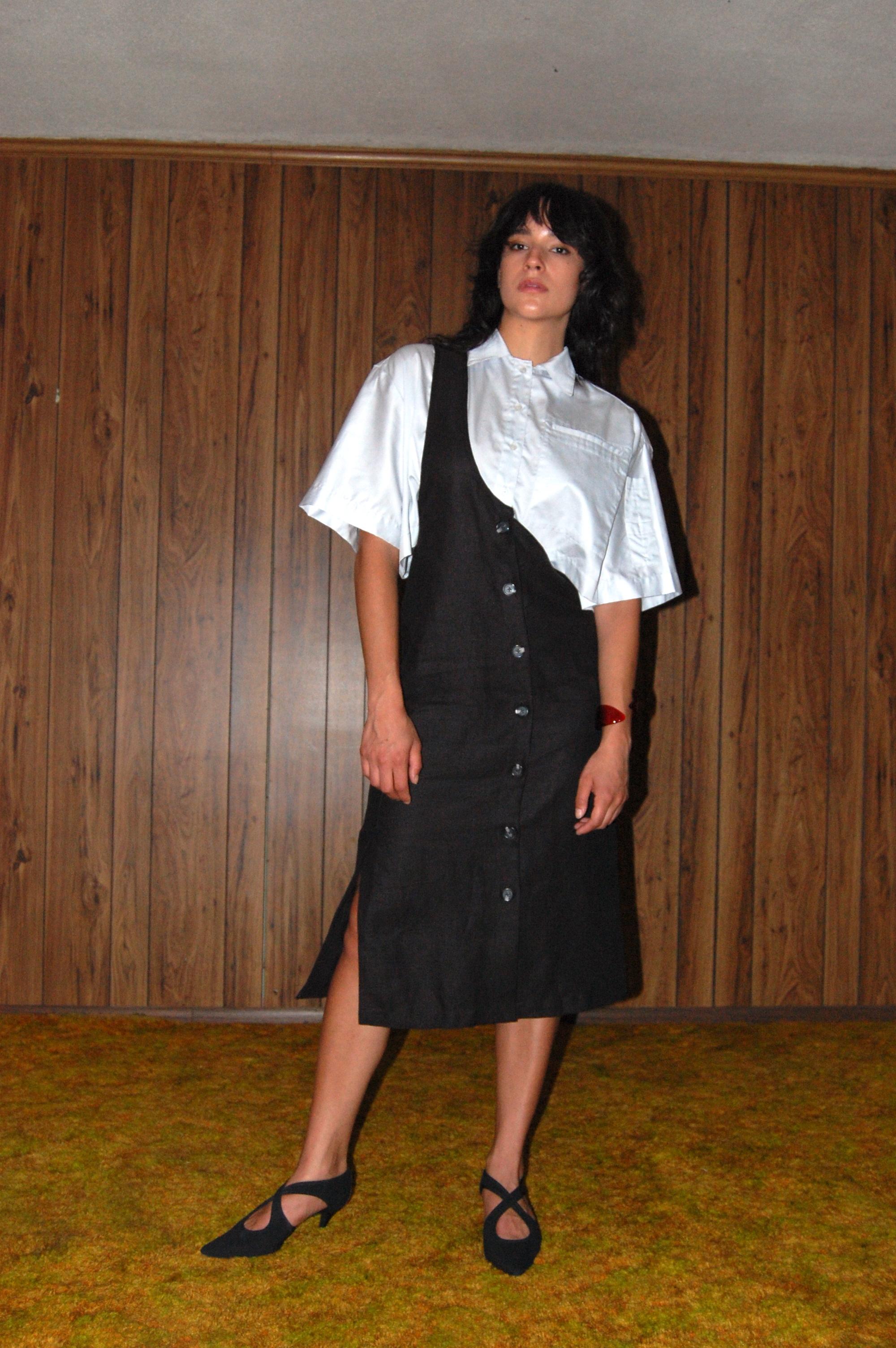black one shoulder skirt, blue crop.JPG