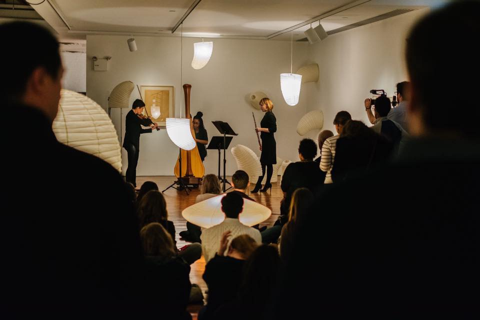 Lanzilotti, Jackson, and Teyssier performing at The Noguchi Museum in the Akari exhibit. Photography by Don Stahl