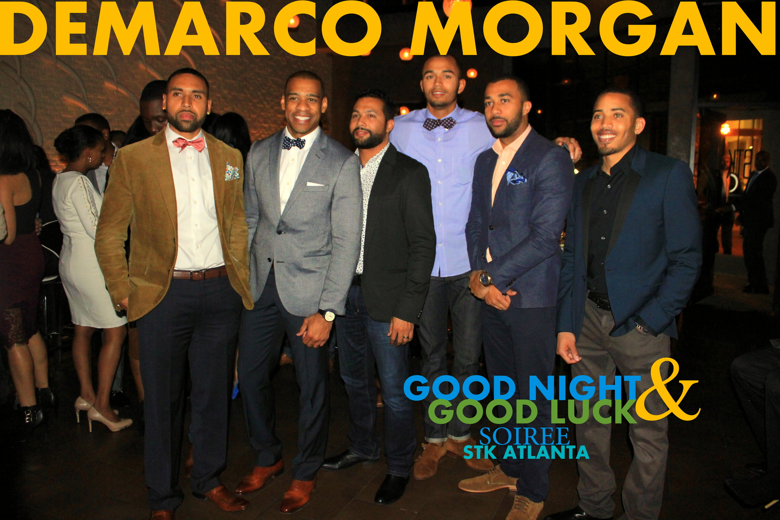 nbc news anchor demarco morgan striking a pose with his guests at his good night and good luck soiree | stk Atlanta before he takes his seat as the new correspondent for cbs new York!   photos from the soiree !