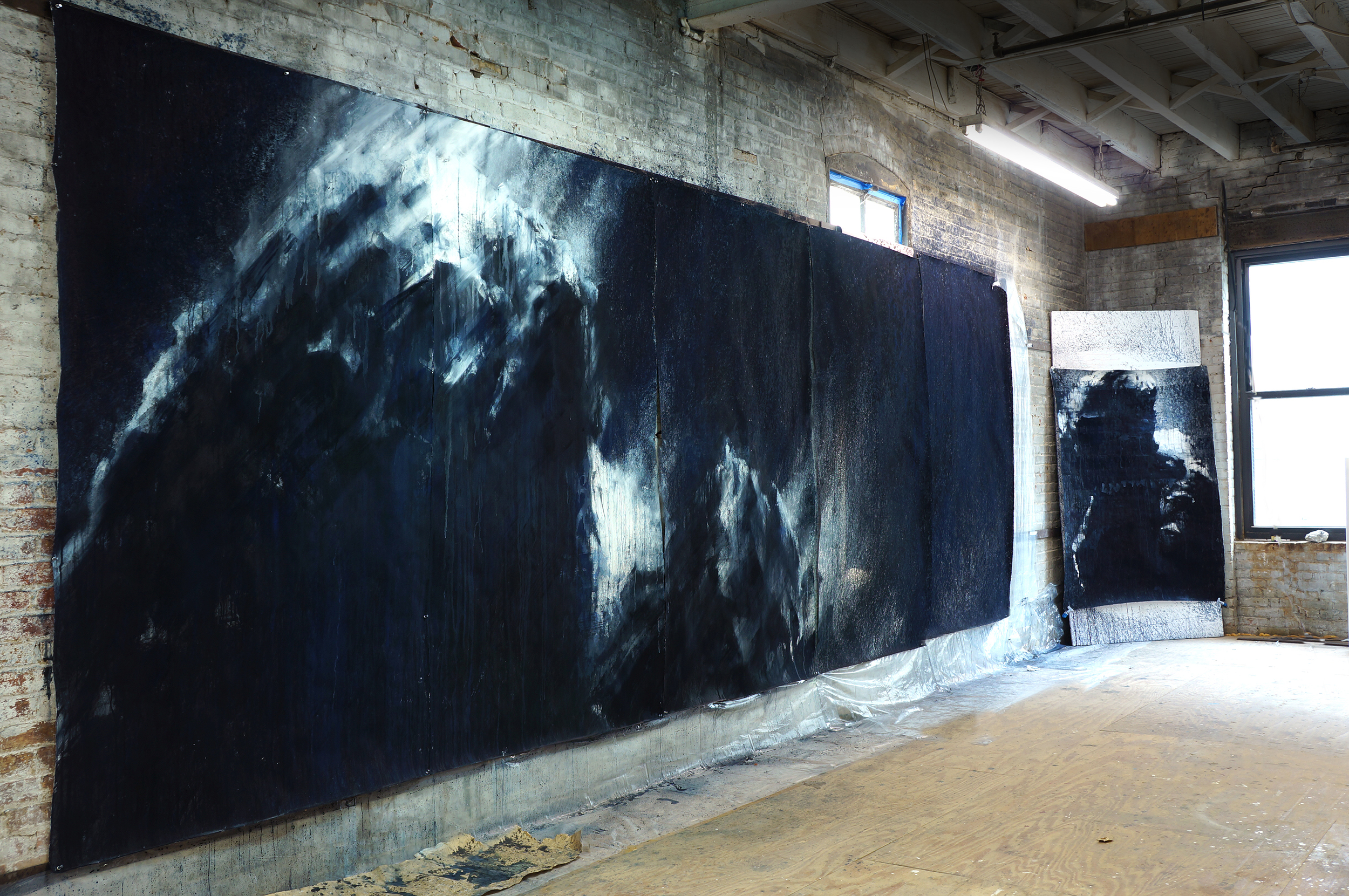 """67P"" most artwork is  based on the photography by Rosetta     watermedia on paper.  90""x260"" (230x660 cm) 2015"