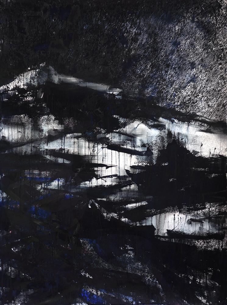"""""""67P V"""" watermedia on paper. 70""""x52"""" (178x132 cm). 2015"""