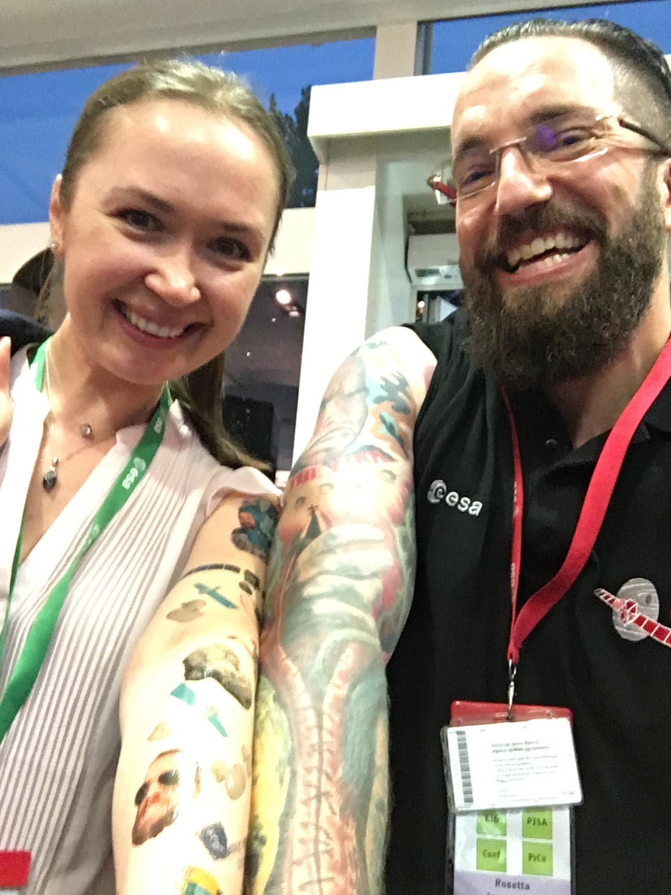 With Matt Taylor, showing off his real tattoos and my temporary ones inspired by Matt and Rosetta