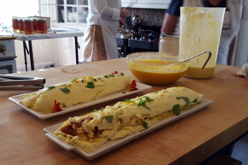 Corn-Basil Egg Roulade with Yellow Tomato Coulis (Canned Plum Tomatoes in the Background)