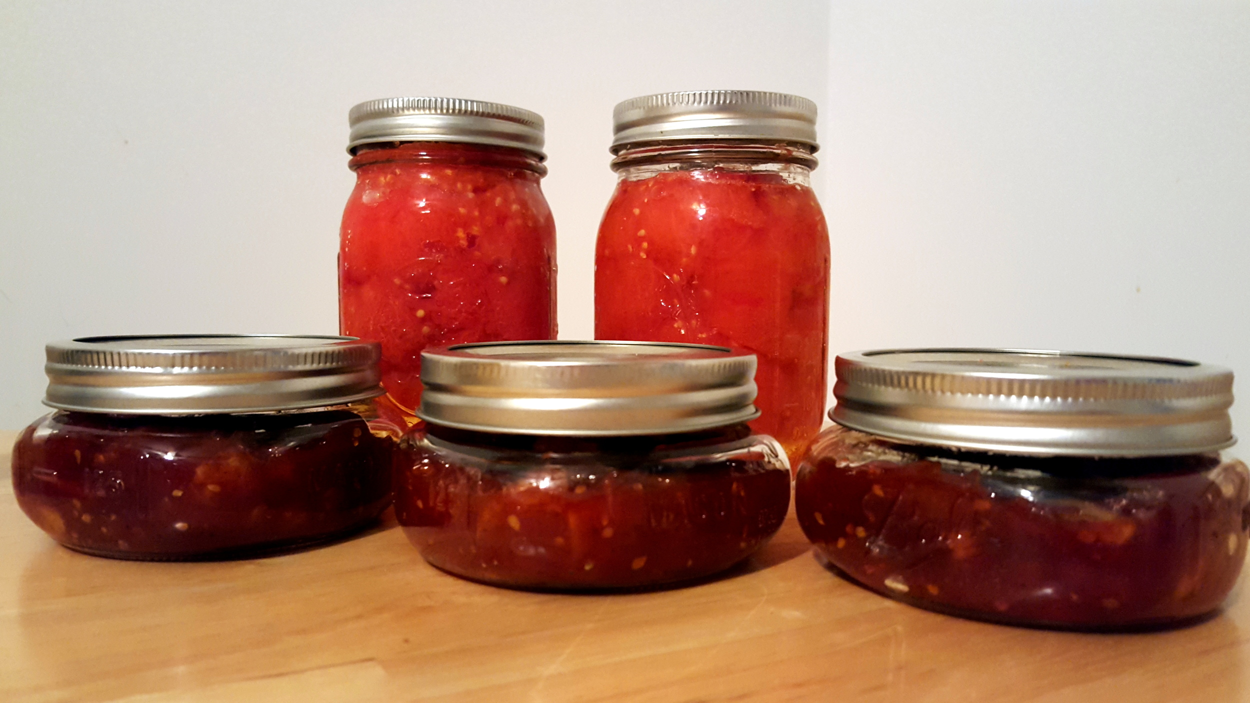 Sweet Tomato Jam and a couple of cans of tomatoes, courtesy of recipes from The Farm Cooking School