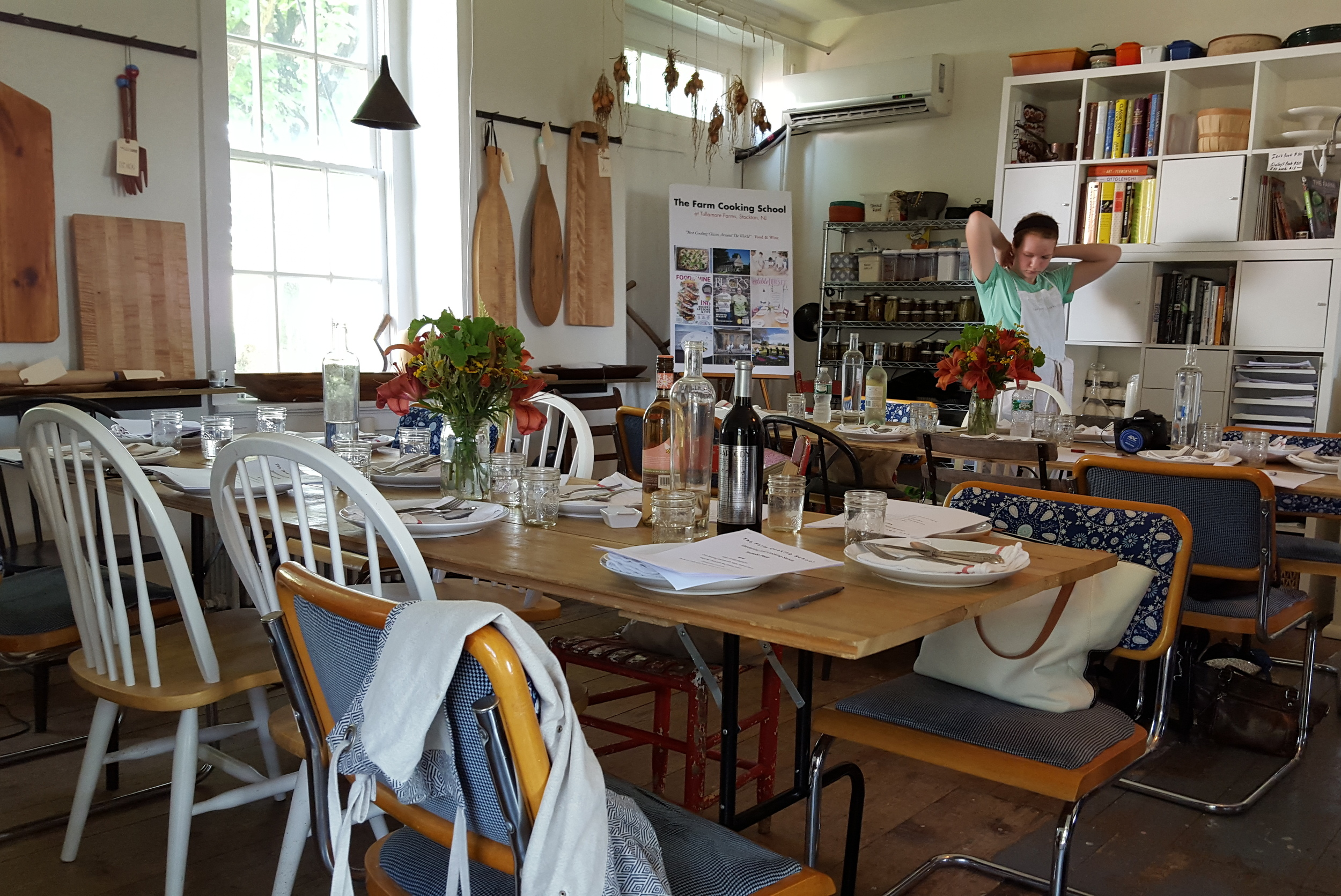 The dining area of The Farm Cooking School