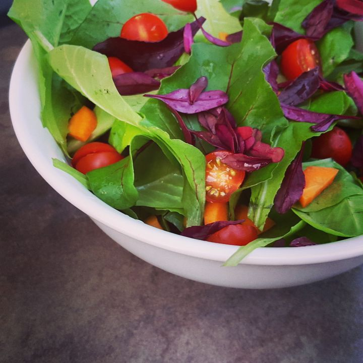 Salad made entirely from my garden goods, including beet greens & beet micro greens