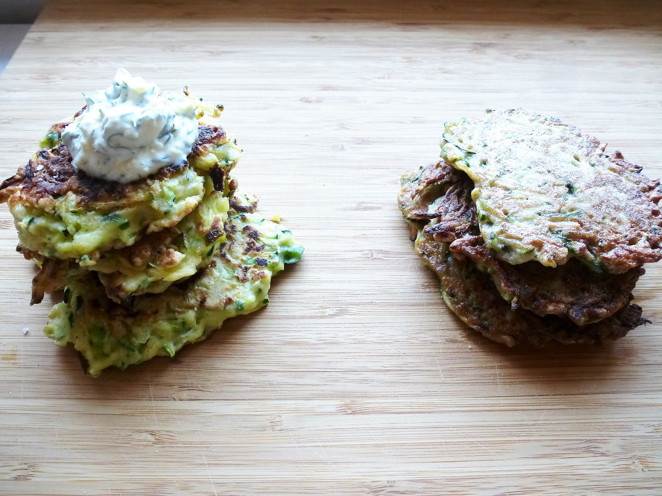 Zucchini Fritters with Lemon & Dill Crème Fraîche (left)and Cardamom & Cinnamon (right)