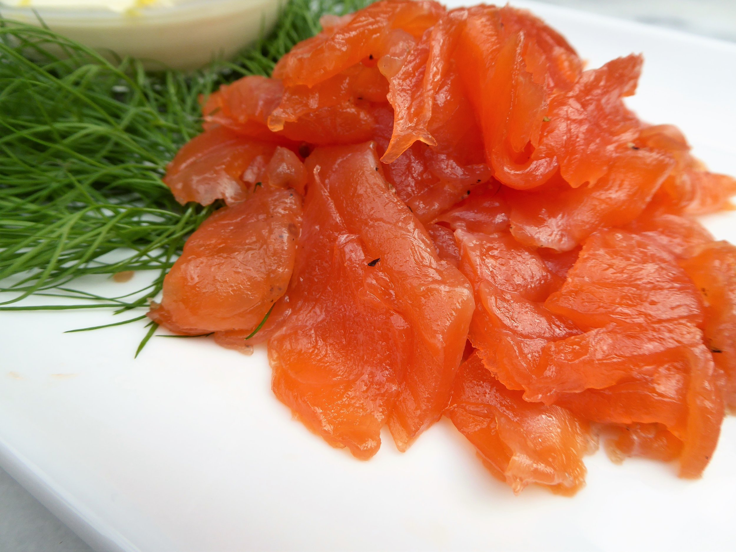 I like to pre-slice gravlax before serving to make it easier for guests